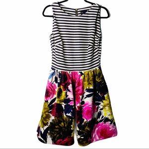 Just Taylor Black white stripe pink floral dress 6